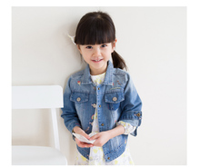 New Arrival Baby Girls Fashion Denim Jacket Girls Character-embroidery Denim Outerwear Jacket Child High Quality Denim Coat(China)