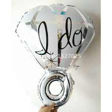 10pieces diamond ring foil balloons party metallized balloons Wedding air helium balloon Wedding room balloon detalles boda