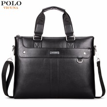 VICUNA POLO Classic Business Man Briefcase Brand Computer Laptop Shoulder Bag Leather Men's Handbag Messenger Bags Men Bag Hot
