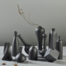 Modern Ceramic Vase creative black Tabletop Vases thydroponic containers flower pot Home Decor crafts Wedding decoration