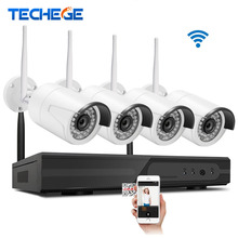 Techege 4CH Wireless 1080P NVR Play& Plug 720P HD System Outdoor 1.0mp IP WIFI Camera 2.4G Eseenet App Surveillance CCTV System