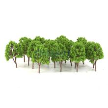 20pcs Plastic Model Trees N Scale Train Layout Wargame Scenery Diorama 7.5cm(China)
