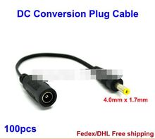 DC Power Jack 5.5mm x 2.1mm Female to 4.0mm x 1.7mm Male Plug Conversion Cable plug adapter 100pcs Fedex / DHL Free Shipping(China)