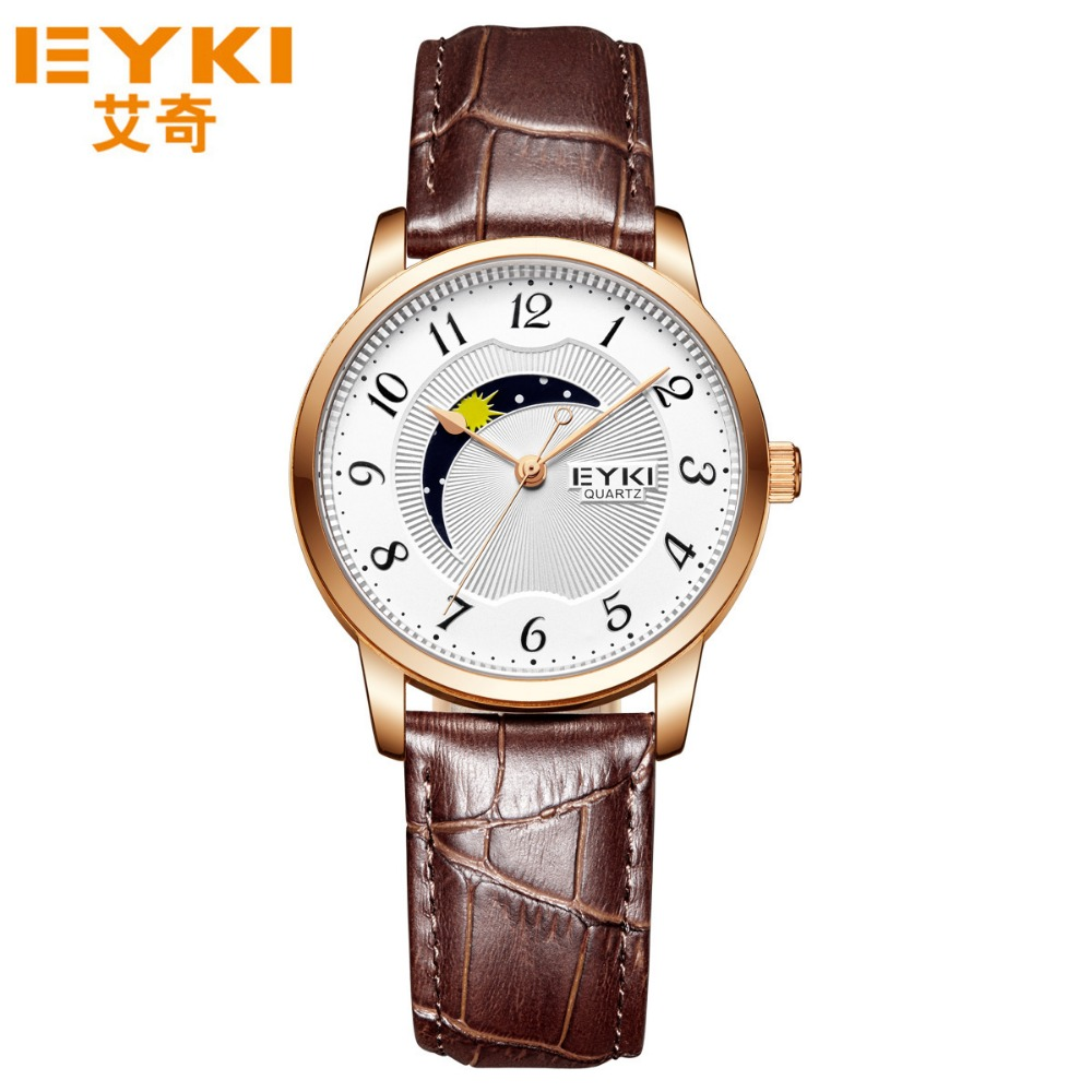 EYKI Top Brand Lovers Watches Quartz Fashion Wristwatches Casual Diamond Clocks Genuine Leather Men Watchses Women Clocks<br>