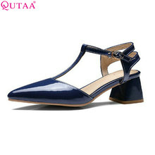 QUTAA Blue 2017 Women Pumps Square Med Heel Platform Slingback PU Patent Leather Pointed Toe Ladies Wedding Shoes Size 34-43(China)