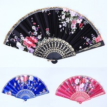 Folding Hand Fan Fabric Floral Wedding Dance Favor Pocket Fan Chinese Fans Classic Fans