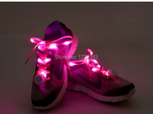 Newest styles 20 Pair/lot Nylon Glowing LED Shoe laces shoestring,Best Price Disco Flash light up LED Shoelace