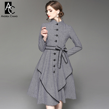 autumn winter woman dress black white plaid pattern dress with belt black border stand collar single breasted over knee dress(China)