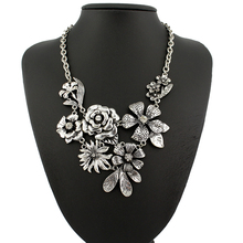 Vintage Flower shape large statement Necklaces & Pendants Bohemia style resto ancient ways maxi necklace free shipping(China)
