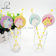 Party supplies 12pcs  Unicorn Lovely Pony theme straws party decoration biodegradable paper straw tube eco friendly