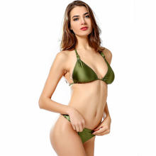 Sexy Bikini Set Metallic Bikini Swimwear Women Solid Low Waist Swimsuit Green Bright Brazilian biquini Push Up Top(China)