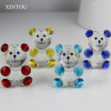 XINTOU Crystal Glass Teddy Bear Figurine Feng shui Miniature Animal Figurines Craft Home Desk Ornaments Christmas Kids Toy Gifts