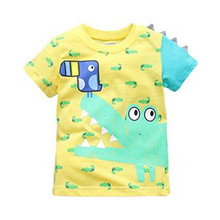 Little Maven New Summer Brand Children Fashion Cartoon Crocodile and Bird O-neck Short Quality Cotton Knitted Boys Casual Tshirt