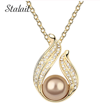 New Queen Cheapest Price 18KGP Alloy Classic simulated Pearl Drop Chains Link Necklace fashion crystal pearl jewelry 28663