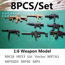 1:6 1/6 Scale Action 8PCS/set include MK18 HK53 Uzi Vector MP7A1 MP5SD5 MP40 MP5 model guns for gundam or tamashii action figure(China)