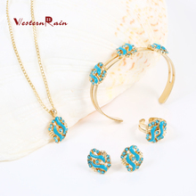 WesternRain 2017 Lovely Pink/blue Crystal Flower Children Necklace Kids Baby Costume Jewelry,Fashion Girl Jewelry Set A724