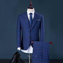 men suit factory brand design 3 pieces (suit+pant+vest) stripe business suits dress wedding groom blazer slim fit best suit men(China)