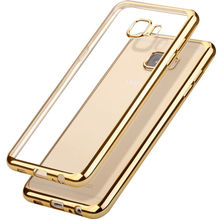 For Samsung A5 2015 2016 2017 Soft TPU Back Cover Clear Transparent Gold Plating Case For Samsung Galaxy A5 2017 Phone Cases(China)