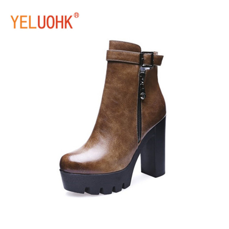 Platform Ankle Boots For Women Winter Boots Plush Winter Shoes Women High Heel Boots<br>
