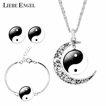 LIEBE ENGEL Unique Tai Chi Jewelry Sets For Women Silver Color Earrings Bracelets & Bangles Vintage Statement Necklace Sets 2017