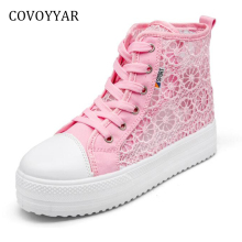COVOYYAR 2018 Cut Out Women's Sneakers Platform Hidden Heel Casual Shoes Breathable Lace Up Women Shoes Trainers Footwear WSN613(China)