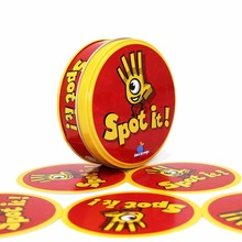 spot dobble find it board game for children, magic fun with family gathering, the animals paper quality card,metal box mtg proxy