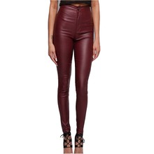 HMCHIME imitation leather denim pants package 2017 hip high quality fashion all match elastic wine red women coated jeans HM437(China)