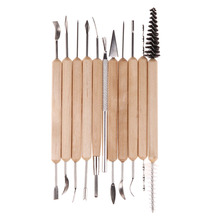 11pcs Clay Sculpting Kit Sculpt Smoothing Wax Carving Pottery Ceramic Tools Polymer Shapers Modeling Carved Tool Wood Handle Set(China)