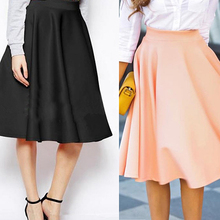 Women Summer High Waist Long A Line Pleated Midi Skirt Office Ball Skirts New Arrival