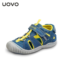 UOVO Non-slip Toes-Protection Sandals For Kids, Leather Sport Beach Shoes Boys,2016 Summer Girls Sandals Anti-Collision,4 Colors(China)