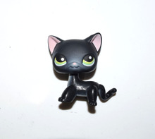 Pet Shop Green Eyes Pink Ear Shor Hair Black Cat Kitty Figure Child Toy(China)