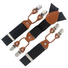 Black Men's trousers strap Y-back Shape 6 Clips-on suspenders Elastic elderly man elastic straps fat Business 115*3.5cm MBD8640(China)