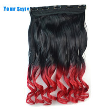 Your Style18'' Ombre Colored  Hair Piece Natural Clip In Hair Extensions 10'' Width 5 Clips Synthetic Wavy Hairpiece