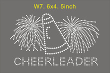 15pcs/lot  Cheerleader  rhinestone transfer motif, hot fix applique, iron on strass, free shipping