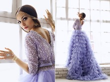 Light Purple Lavender Tulle Ruffles Layers V Neck Half Sleeves A Line Formal Evening Dresses for Wedding Party