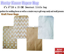 On SALE ! Small white dot kraft paper bags,polka dot goodie bags ,Food Bags,Gift Wrapping bags 10x15cm,96pcs/lot mix 2 pattern