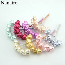 10pcs Foam Heart Stamen Artificial Flowers For Wedding Scrapbook Christmas Party Decoration Fake Flower Accessories Supplies