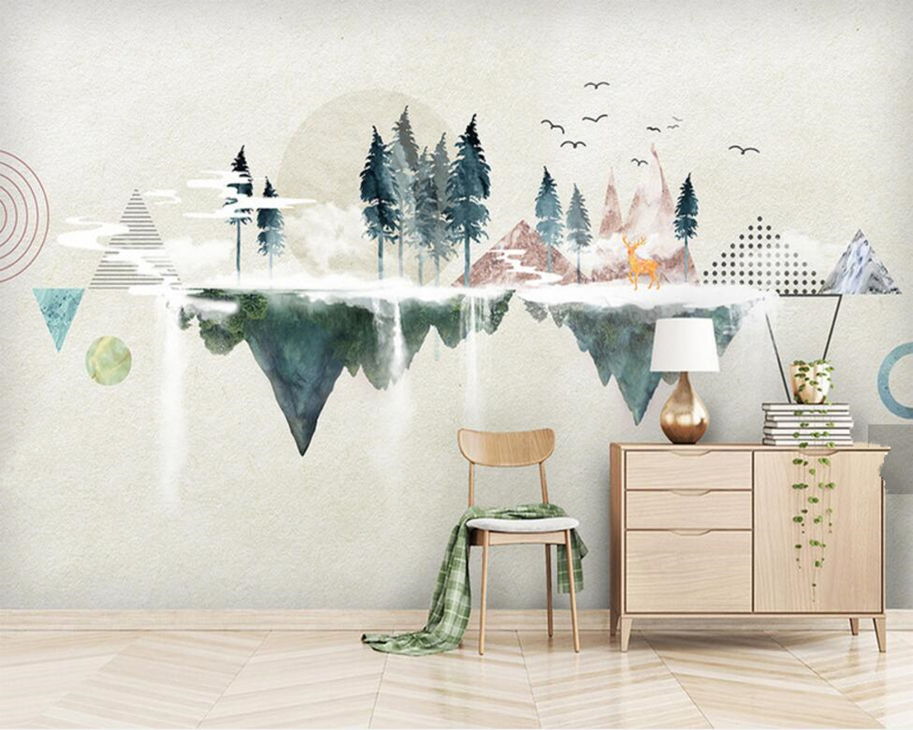 Modern minimalist personality geometric abstract landscape wallpaper,living room TV sofa wall bedroom mural papel de parede<br>