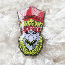 Custom multiple design hard enamel lapel brooch pins offset printing ghost mask with epoxy red hat pins high quality
