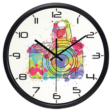 New Arrival House Decoration Coffee Silent Wall Clock Pretty Round Quality Video Camera Clock(China)