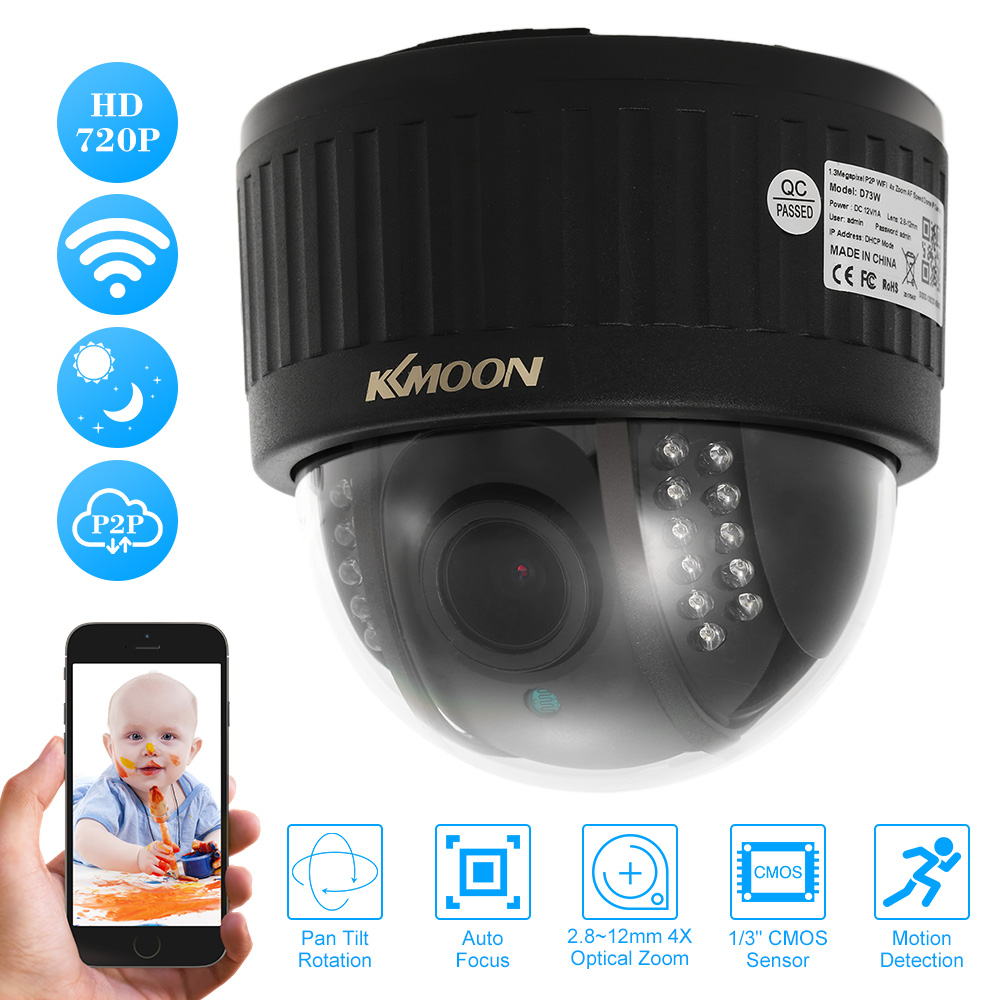 KKmoon Wireless WIFI PTZ IP Camera HD 720P Indoor Dome Camera 2.8~12mm Auto-Focus 4X Zoom Lens 1MP Night Vision Security Camera(China (Mainland))