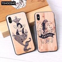 TOMOCOMO iPhone 6 6S 6Plus 7 7Plus 8 8Plus X 3D Relief Elephone Mermaid Tattoo imitative Wood Case Cover Capa Fundas