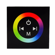 RGB full color led controller DC12V-24V 4A /CH Black wall mounted RGB touch panel controller(China)