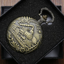 Antique Bronze Train Front Locomotive Engine Necklace Pendant Quartz Analog Pocket Watch with Chain for Men + Gift Box