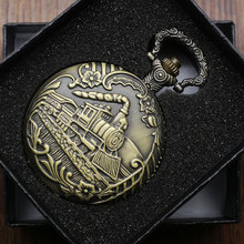 Antique Bronze Train Front Locomotive Engine Necklace Pendant Quartz Analog Pocket Watch with Chain for Men + Gift Box(China)