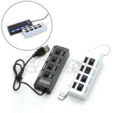 HOT 4 Port USB 2.0 High Speed Hub ON/OFF Indicator Led Sharing Switch For Office Family Laptop/Tablet  PC Brand New
