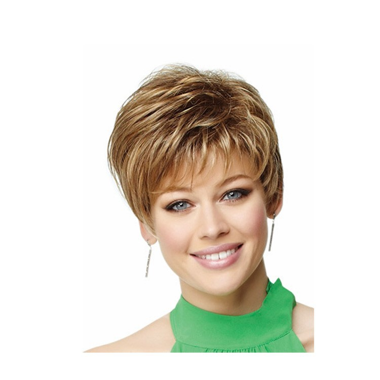 short blonde wig synthetic afro hair, puffy straight short wigs for beautiful women<br><br>Aliexpress
