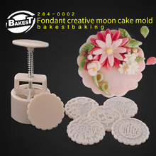 BAKEST   Plastic Material DIY 125g Moon Cake Mold With 6pcs Stamps
