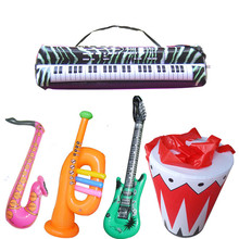 5pcs/lot fashion inflatable music instruments toy,electonic organ , saxophone,horn ,drum set ,guitar children toys(China)