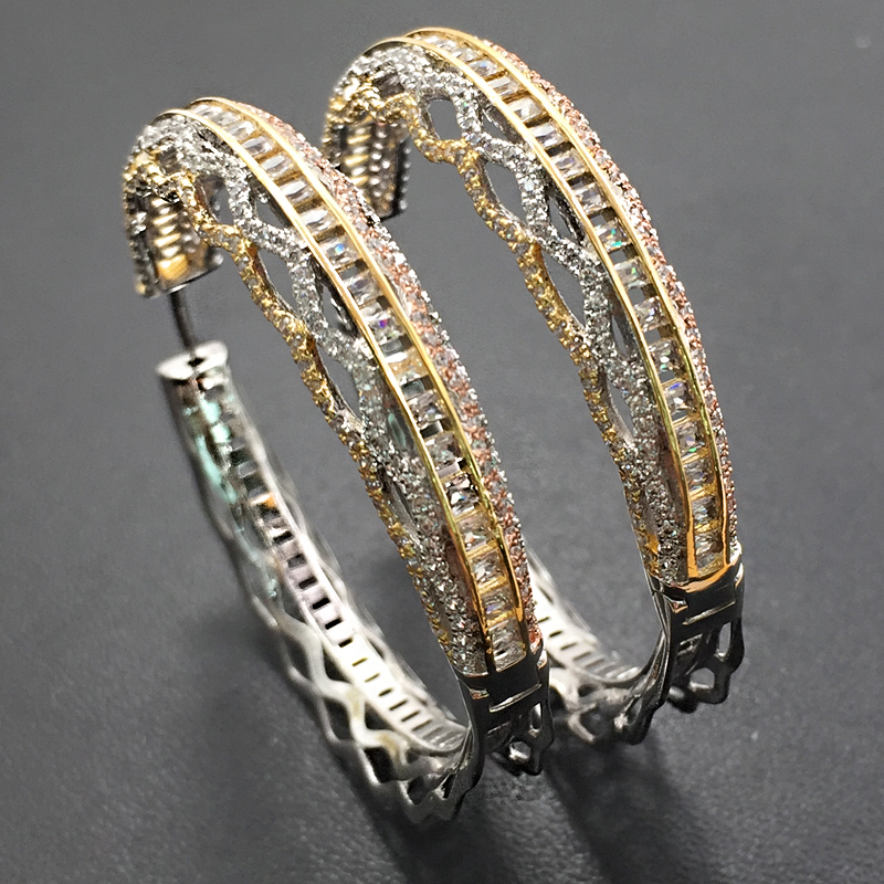 Lanyika Fashion Jewelry Artistic Shiny Luxury Big Ear Loops Micro Plated Wedding Engagement Elegant Earrings Daily Best Gift